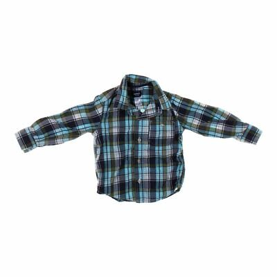 Carter's Boys  Plaid Button-up Shirt, size 2/2T,  turquoise, grey, white, green