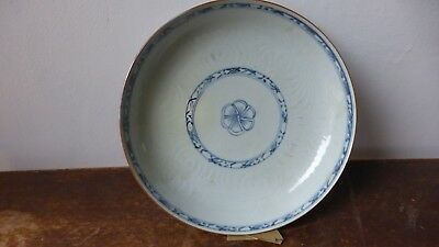 Antique chinese export porcelain soup plate. XVIIIth  Ancienne  Assiette Chine.H