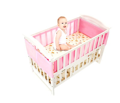 NEW Breathable Baby Crib Bumper Liner Pads Standard Cribs 2PC Washable Pink Mesh