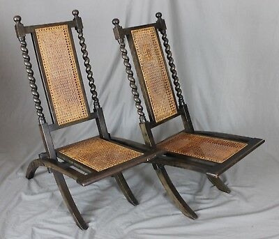 19th Century Colonial Hardwood Folding Campaign Chairs c1870