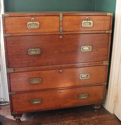 Military Campaign Chest of Drawers 19th Century Mahogany