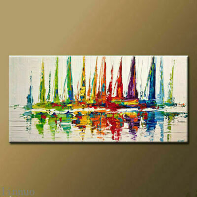 Large Modern Hand-painted Art Oil Painting on canvas Wall Decor Boat Unframed