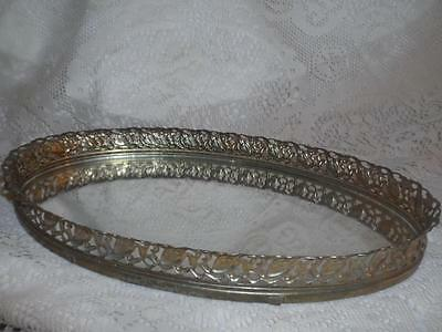 Vintage Ornate Brass Goldtone Pierced Ormolu Mirrored Oval 4-Footed Vanity Tray