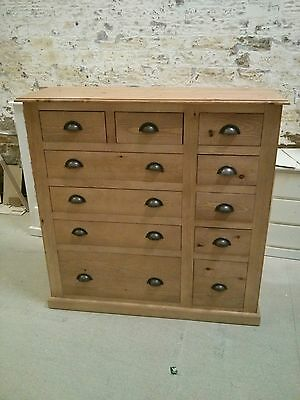 Pine Furniture Victorian 11 Drawer 4+2+5 Jumper Drawer Chest Med Oak/Rustic Cup