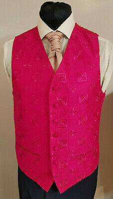 W - 1119 Mens/Boys Pink Abstract Patterned Waistcoat Party / Formal