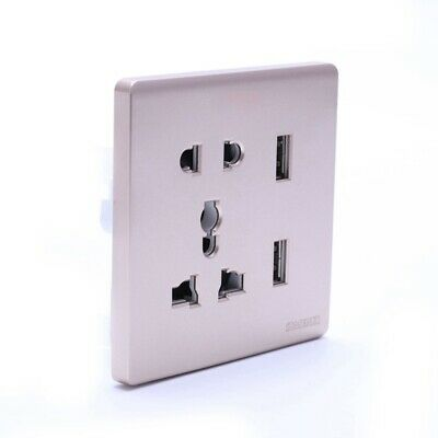 Wall Electrical 10A Universal Plug Faceplate Socket Double 2 USB Outlets Po T6R8