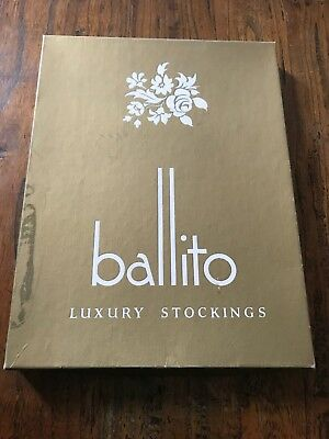 ❤️ Vintage BALLITO Luxury Stockings Mesh Crepe Toffee XL 3 Pairs - BOX ONLY