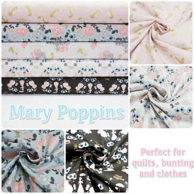 Licensed Disney MARY POPPINS English Nanny 100% Cotton Patchwork Craft Fabric
