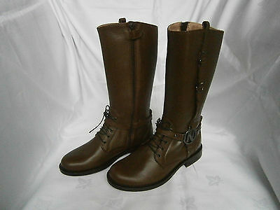 New Girls Chatterbox Brown Tan Zip Up Boots with Buckle Detail Sz 5-6-7-10 BNIB