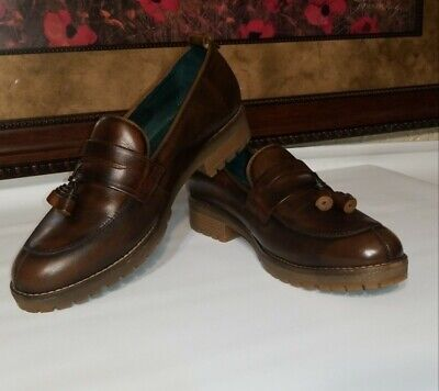 Pikolinos Womens Loafer Shoes Eu 39 Us 8 5 Wedge Heel Brown Leather