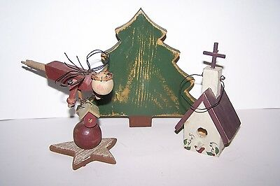 3 Piece Hand Crafted Wooden Angel & Christmas Tree 7 Bird House