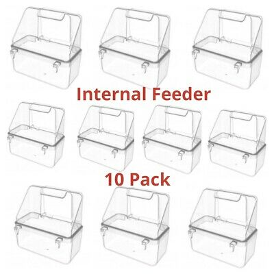 10 x Internal Bird Cage Feeder Drinker For Finch Canary Budgie Cage Fronts