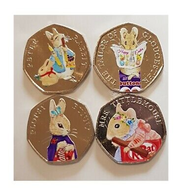 Beatrix Potter chocolate 50p 2018 coin stickers decals high quality x8