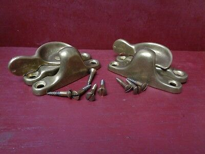 2 MORE AVAIL NOS VINTAGE CAST BRASS WINDOW LOCK's WITH SCREWS #09
