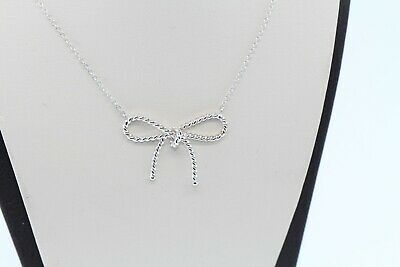 Tiffany & Co.Sterling Silver Twist Ribbon Bow Pendant Necklace