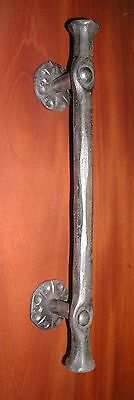 Door Pull Handle, Gothic Wrought Iron with Upset Ends, Hot Formed by Blacksmith