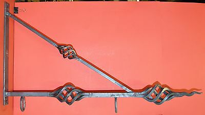 """Sign Bracket Holder, Wrought Iron Baskets, 34"""", by Worthington Forge in USA"""