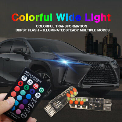 2X T10 5050 W5W 6 SMD Remote Control RGB LED Car Dome Reading Light Lamp Bulb CD
