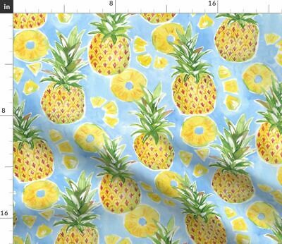 Tropical Pineapple Watercolor Summer Fruit Fabric Printed by Spoonflower BTY