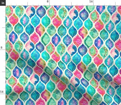 Watercolor Rainbow Vintage Patchwork Doodle Fabric Printed by Spoonflower BTY