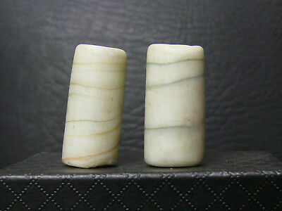 "(eL018)  Tibet:  2 Big Old  glass  Beads. ""marble type"""