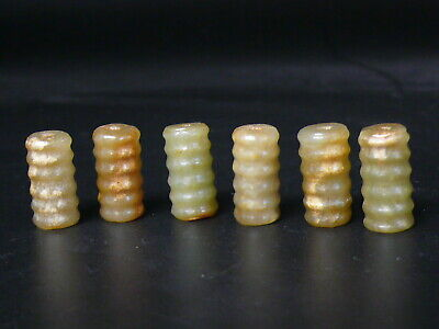 (eH7670)   6 pc Old style STONE beads Hand Carved 16x7mm.