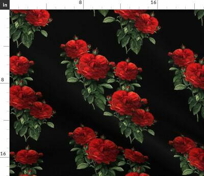 Roses Red Redoute Gothic Goth Floral Flowers Fabric Printed by Spoonflower BTY