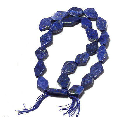 (eA7612) LAPIS LAZULI  7 inch (17,5 cm) Hand Carved diamond beads 5x9mm Old Stoc