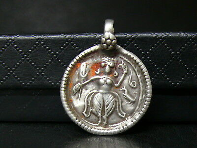 (dB1324)  India: Old Sterling Solid Silver  Hand Made Pendant