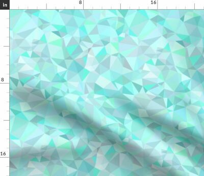 Geometric Prism Mint Triangles Crystals Fabric Printed by Spoonflower BTY