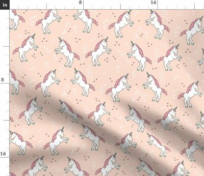 Pastel Pink Unicorn Fantasy Baby Adorable Fabric Printed by Spoonflower BTY
