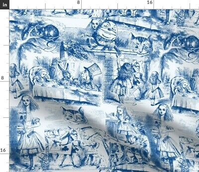 Toile Whimsical Wonderland White Rabbit Tea Fabric Printed by Spoonflower BTY