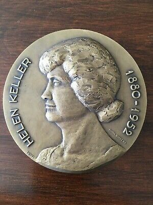 Beautiful rare antique bronze medal of Helen Keller