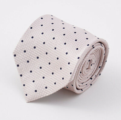 NWT $295 CESARE ATTOLINI NAPOLI Pale Pink-Navy Blue Woven Dot Pattern Silk Tie