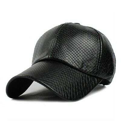 Thick Leather Baseball Cap Mens Woman Adjustable Solid Hats Winter Warm Snapback