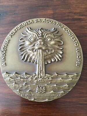 Beautiful rare antique bronze medal of Portuguese water industry