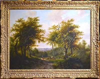 Antique 19th century Top Quality Stunning Dutch Landscape : Forest Road