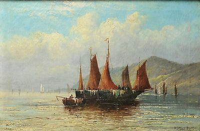 Antique German 19th Century Oil painting on Canvas : Fishing schooners