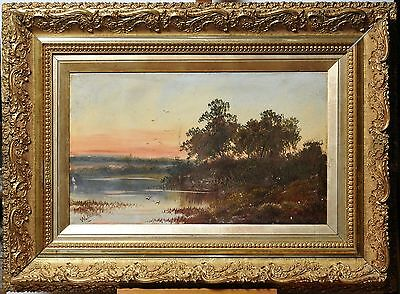 Antique 19th-20th century Oil Painting on paperboard : Sunset on Lake
