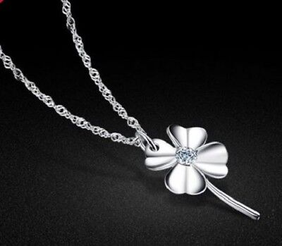 Lucky Four Leaf Clover Pendant Necklace 45Cms. Silver Plated