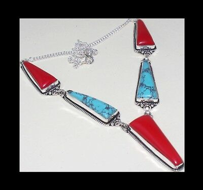 New - Red Coral & Turquoise Antique Silver Plated Statement Necklace