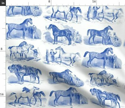 Equestrian Toile Blue Delft Vintage Inspired Fabric Printed by Spoonflower BTY