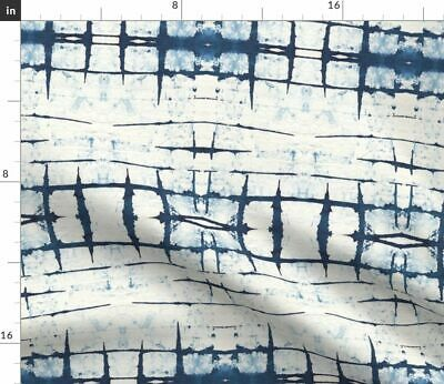 Shibori Japanese Asian Tie Dye Blue White Fabric Printed by Spoonflower BTY