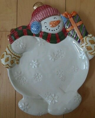 Fitz and Floyd Classics Snowman Cookie Dessert Canape Plate Platter Frosty Folks
