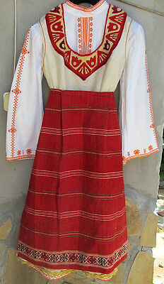 Antique Embroidery Rare Original Old Wool Handmade Women Folk Costume Bulgaria
