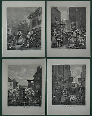 William Hogarth - Four Times of the Day - Complete series - Original 1738 / 1822