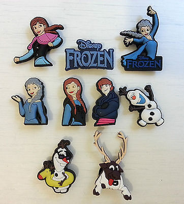 9 Frozen Elsa, Anna, Olaf, Kristoff Shoe Charms For Crocs And Jibbitz Wristbands