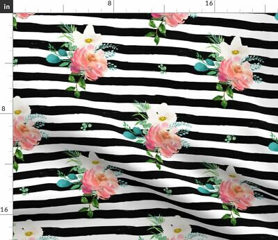 Pink Roses Girly Floral Stripes Flamingo Fabric Printed by Spoonflower BTY