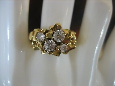 Estate Vintage 14k Gold Women's Diamond Nugget Ring Fine Jewelry Size 8.25