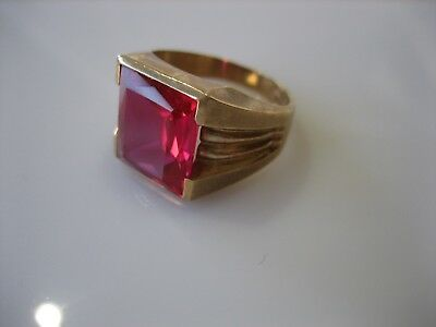 Vintage Art Deco Signed Rs Co 10K Yellow Gold Ruby Ring 4.4 Grams Size 5.5